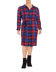 Lucky Brand Plus Buffalo Check Long Sleeve Midi Shirtdress Blue
