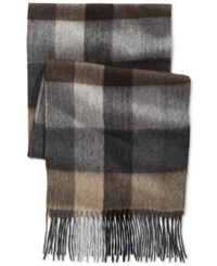 Club Room Plaid Cashmere Scarf Only At Macy's Grey Tan
