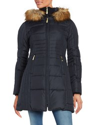 Vince Camuto Slim Fit Faux Fur Hooded Puffer Jacket Navy