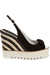 Paloma Barcelo Suede And Jute Wedge Sandals Black