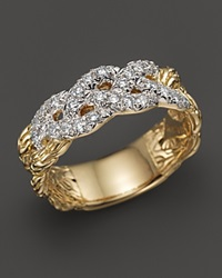 John Hardy Classic Chain 18K Yellow Gold Diamond Pave Woven Braided Band Ring