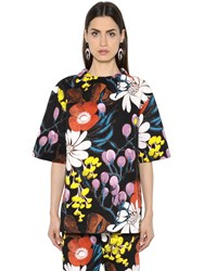 Marni Floral Print Cotton And Linen Drill Top