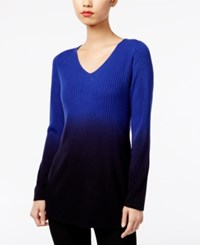 Ny Collection High Low Ombre Sweater Blue Ombre