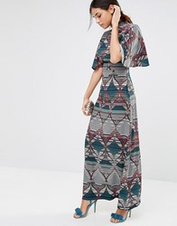 Liquorish Geometric Print Maxi Dress With Slit Front And Frill Sleeves Multi