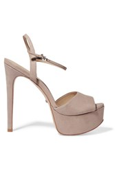 Schutz Rebecca Leather Platform Sandals Taupe