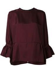 Mcq By Alexander Mcqueen Lace Trim Blouse Red