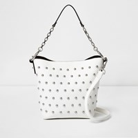 River Island Womens White Studded Bucket Bag