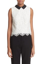 Alice Olivia Women's 'Wylie' Contrast Collar Sleeveless Lace Top