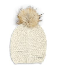 Lauren Ralph Lauren Faux Fur Pom Pom Hat Cream