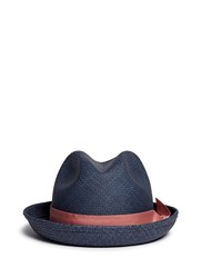 Sensi Studio Feather Straw Panama Trilby Hat Blue