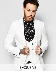 Noose And Monkey Suit Jacket With Stretch Shawl Lapel In Super Skinny Fit White