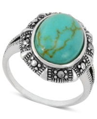 Genevieve And Grace Manufactured Turquoise 3 1 10 Ct. T.W. And Marcasite Oval Ring In Sterling Silver
