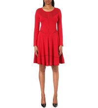 The Kooples Panelled Knitted Dress Red