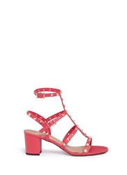 Valentino 'Rockstud' Caged Leather Sandals Pink