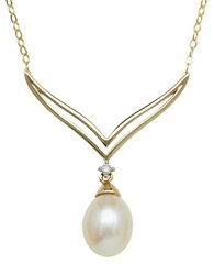 Lord And Taylor 14Kt. Yellow Gold And Fresh Water Pearl Necklace With Diamond Accent Pearl Gold