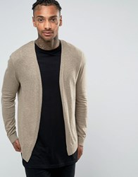 Asos Cotton Buttonless Cardigan In Light Brown Faded Taupe Beige