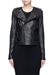 Elizabeth And James 'Ollie' Lambskin Leather Motorcycle Jacket Black