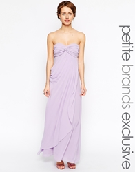 Jarlo Petite Claudia Ruched Bandeau Maxi Dress Lilac