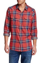 Lucky Brand Santa Fe Plaid Long Sleeve Regular Fit Western Shirt Red