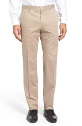 Boss Men's 'Giro' Flat Front Solid Stretch Cotton Trousers Medium Beige