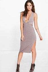 Boohoo Cut Out Detail Side Split Midi Dress Sand