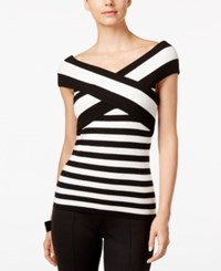 Inc International Concepts Striped Off The Shoulder Knit Top Only At Macy's Black White Stripe