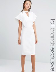 Alter Tall Flutter Sleeve Bodycon Dress With Keyhole Detail Cream