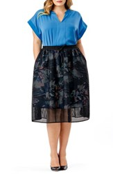 Mynt Plus Size Women's 1792 Mesh Overlay A Line Skirt Floral Print