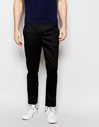 Jack And Jones Jack And Jones Premium Trousers With Stretch And Elasticated Waist In Slim Fit Black