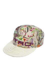 Etro Printed Linen And Straw Effect Hat