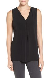 Halogenr Women's Halogen Pleat Front V Neck Top Black