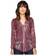 Lucky Brand Contrast Embroidery Blouse Red Multi Women's Blouse