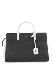 Saint Laurent Small Rive Gauche Two Tone Leather Satchel Black White