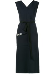 Ellery Embellished Pocket Sleeveless Dress Blue