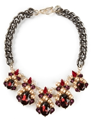 Anton Heunis Oval Crystal Cluster Bib Necklace Red