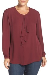 Sejour Plus Size Women's Ruffle Front Blouse Burgundy London
