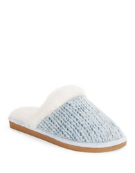 Lemon Faux Fur Trimmed Peppermint Slub Slippers Skywash
