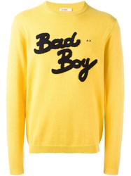 Sun 68 Bad Boy Patch Sweater Yellow Orange