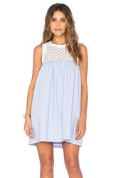 Lucca Couture Eyelet And Poplin Mix Tank Dress Blue