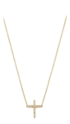 Jennifer Meyer Jewelry Thin Cross Necklace Gold Clear