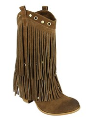 Naughty Monkey Kickin In Frindged Suede Mid Calf Boots Tan