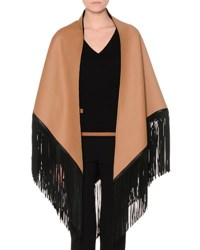 Agnona Wool Reversible Poncho W Leather Fringe Black Tan
