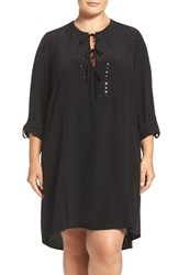 Addition Elle Love And Legend Plus Size Women's Embellished Lace Up Shirtdress