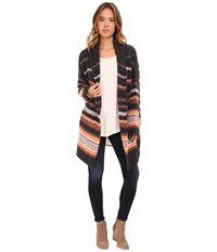 Free People Alpaca Stripe Coat Charcoal Combo Women's Sweater Gray