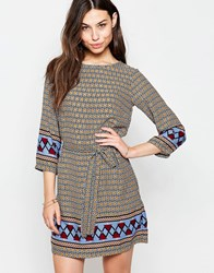 Yumi Belted Shift Dress In Border Print Multi