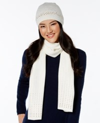 Rampage Rhinestud Beanie And Oblong Scarf Set Only At Macy's Ivory Gold Studs