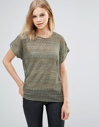 B.Young Lace Blouse Dusty Olive Green