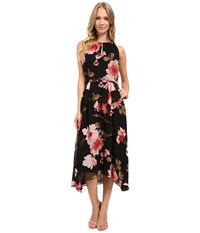 Tahari By Arthur S. Levine Floral High Low Hem Tie Waist Dress Black Rose Olive Women's Dress