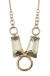 Alexis Bittar Lucite Center Ring Bib Necklace White