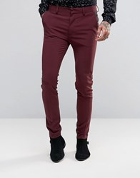 Asos Super Skinny Tuxedo Suit Trousers Burgundy Red